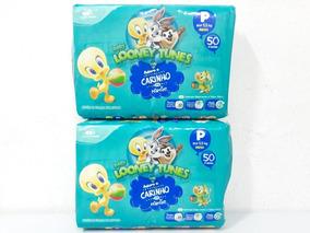Kit 2 Pacotes Fraldas Looney Tunes Tam P Total 100 Fraldas