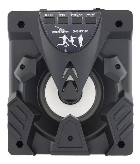 Caixa De Som Bluetooth 6w Rms Amplificada C/ Led Bluetooth Radio Fm Usb Mp3 Micro Sd Tf