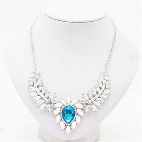 Colar Feminino Com Pedra Azul Marinho