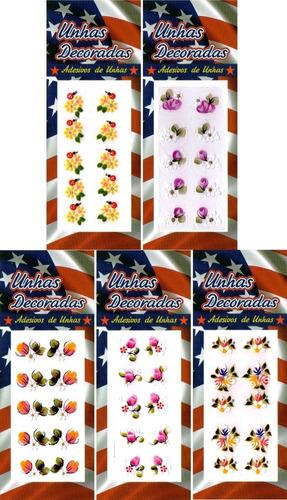 Kit 10 Cartelas Adesivos Unhas Decoradas  Artesanal + Brinde