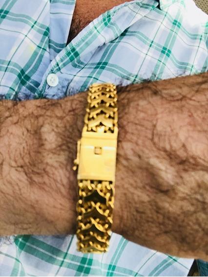 Pulseira Unisex Em Ouro 18k-750-maciço-peso: 57,1 Gr, 21,5cm
