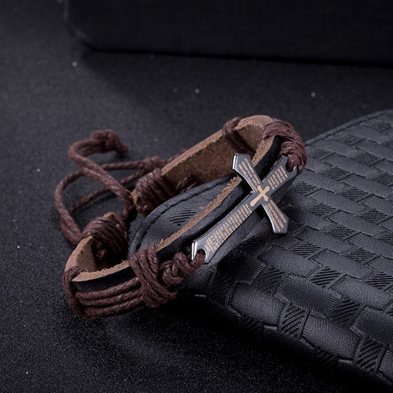 Pulseira Masculina Bracelete Couro Cruz Pai Nosso Amuleto