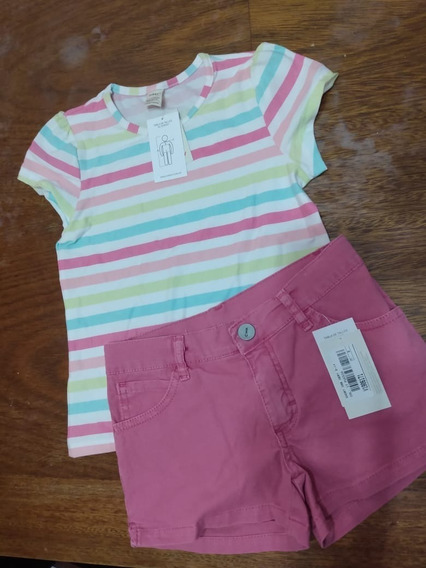 Conjunto Remera + Short Cheeky Nena C/elastico Regulable