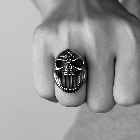 Anel Caveira Skull Punk Gotico Abridor De Garrafa Stainless