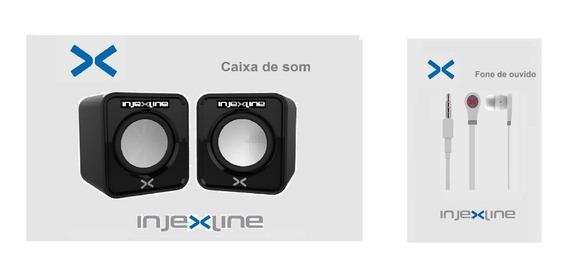 Caixa De Som + Fone De Ouvido P/noteboks Pcs Celulares Injex