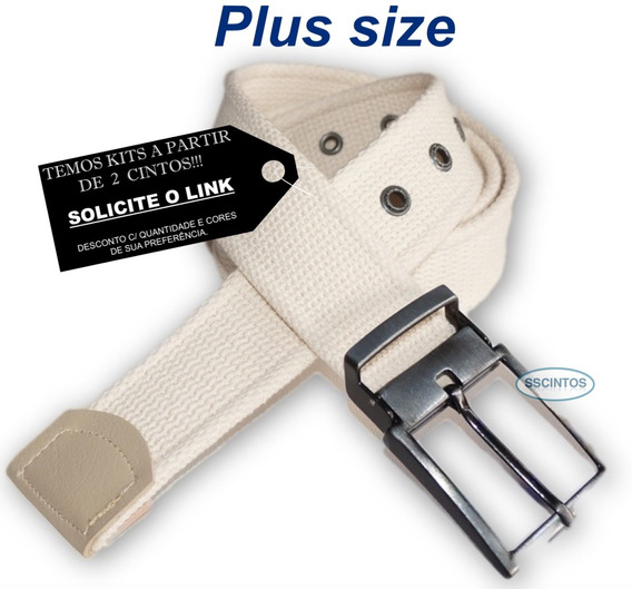 Cinto Plus Size Lona Premium 4cm Fiv C/ Regulagem L49 Az