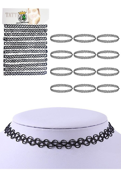 24 Gargantilha Choker Tatto Cartela Colar Preto Tribal