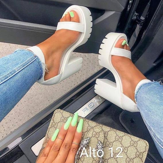 Tacones Zapatillas Plataforma Blanca De Moda Nyc Shoes