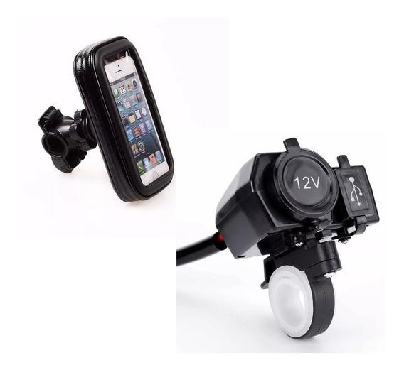 Kit Funda Celular Toma 12v Usb Gps Manubrio Moto Fas Motos