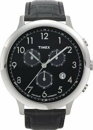Relógio Timex Com Cronografo Em Couro T2f561