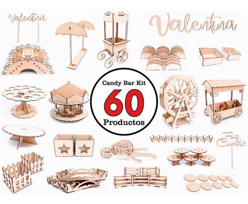 Imagen 1 de 10 de Candy Bar Mdf Fibrofacil Cumpleaños Kit Combo Gigante Madera