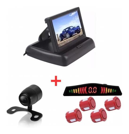 Kit Monitor Retrátil + Sensor Vermelho + Câmera Hilux Sw4