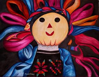Pintura De Acuarela Maria Muñeca Mexicana