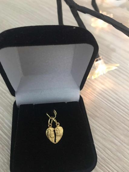 Pingente Coração Cara Metade Ouro 18k