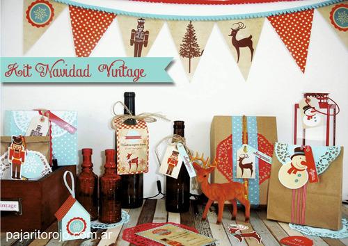 Kit Imprimible Navidad Vintage