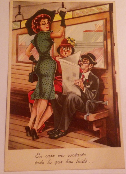 Antigua Postal Caricatura De 1954 - Argentina - Post 029