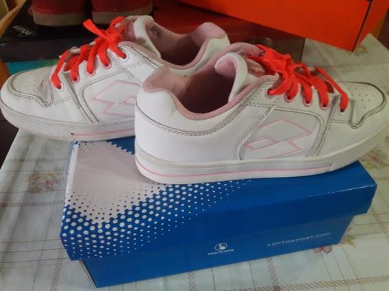 Zapatillas Lotto Blancas De Cuero Para Niñas