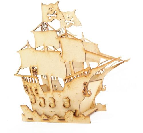 Imagen 1 de 6 de Centro De Mesa Barco Pirata Paquete Con 12 Piezas Mdf Adorno