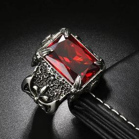 Anel (aço Inoxidável) Com Pedra Vermelha / Réplica De Rubi