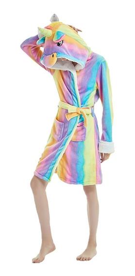 Unicornio Arcoiris Bata Suave Cómoda Pijama Dormir Adulto