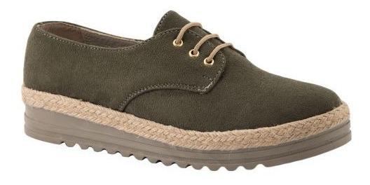Zapatos Confort 171446 Verde Oxford Mini Plataforma Yute