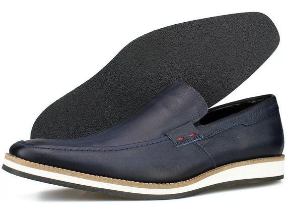 Slip Masculino Tênis Sapato Casual Sem Cadarço Couro Legítim