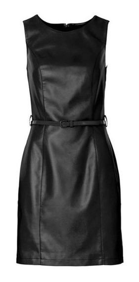 Vestido De Couro Midi Tubinho C/ Cinto