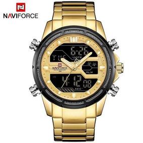 Relógio Masculino Naviforce® 9138 Aço Inoxidável Dourado