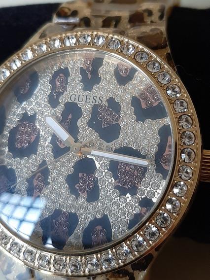Relógio Guess Feminino Dourado Pulseira Animal Print Onça