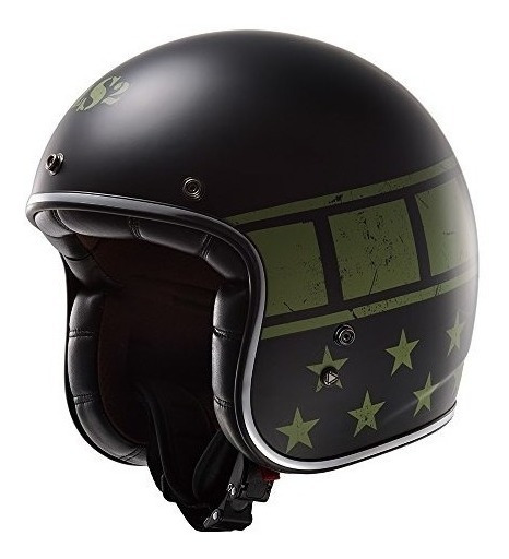 Casco De Moto Bobber Militar Ls2 Kurt (negro Mate, Xx-grande