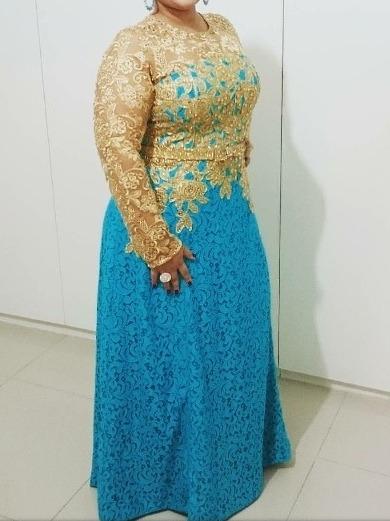Vestido De Festa Azul Com Dourado
