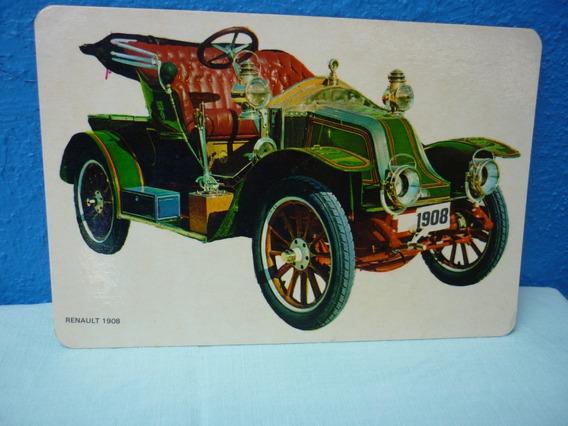 Tarjeta De Antiguo Coche Renault 1908 .