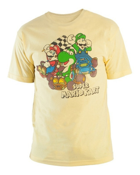Playera Camiseta Beige Think Geek Super Nintendo Mario Kart