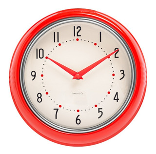 Reloj De Pared Rojo Retro Marco Metal