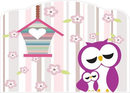 Imagem 1 de 3 de Adesivo Cabeceira Cama Infantil Coruja Quarto Lilás 90x70 Cm