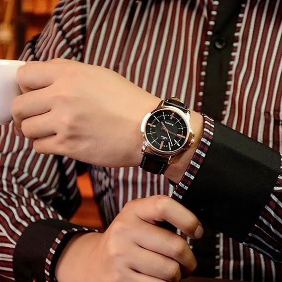 Relógio Luxo Masculino Casual Pulseira De Couro