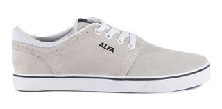 Tênis Alfa Skate Trick Camurça Bege E Branco Melhor Preço