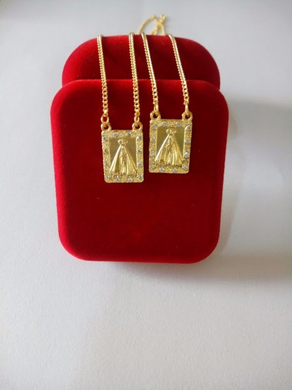 Escapulário Feminino Nossa Senhora Aparecida Banhado A Ouro