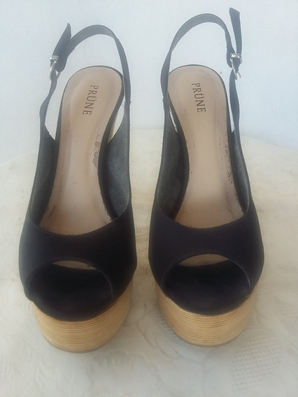 Zapatos Negros Forrado En Tela, Marca: Prune, Número 38