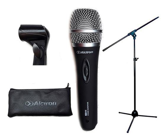 Kit 2 Microfonos Dinámicos Pm05 + 2 Soportes Pie Jirafa