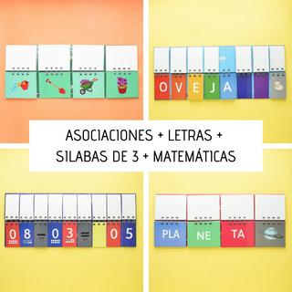 4 Libros Móviles: Asociaciones + Letras + Silabas De 3