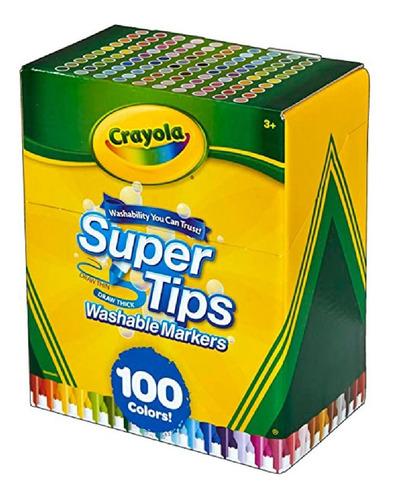 Imagen 1 de 5 de Marcadores Crayola Supertips Lavables Punta Conica X100