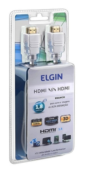 Cabo Hdmi 1.8 Metros Branco Elgin Full Hd 1080p Nfe