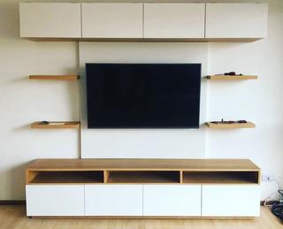 Modular Para Tv Completo Con Panel, Cajonera Y Estantes