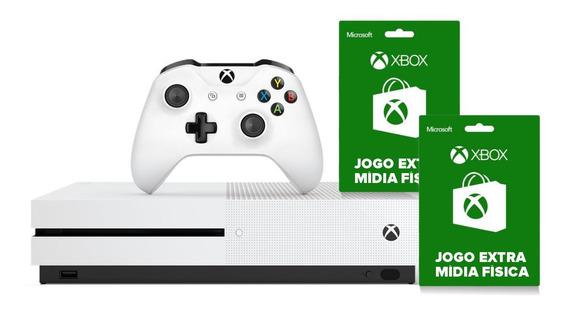 Xbox One S 1tb 4k 1 Controle Wireless Branco E 2 Jogos