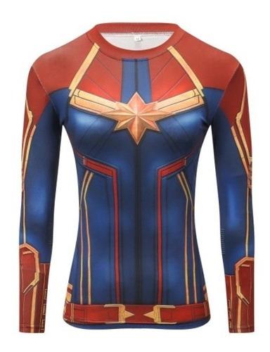 Imagen 1 de 3 de Camiseta De Compresión Manga Larga Para Mujer - Superheroes