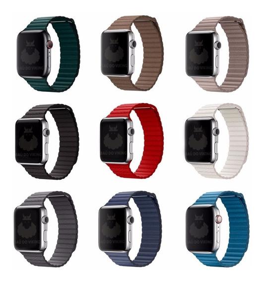 Pulseira Couro Loop Para Apple Watch 42mm 38mm 40mm 44mm