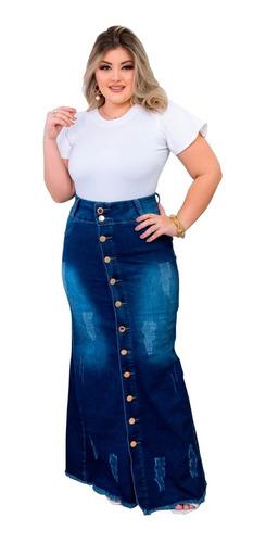 Imagem 1 de 4 de Saia Jeans Destroyed Longa Justa Moda Evangélica Feminina