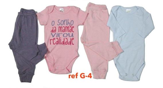 Kit C/ 4 Body Calça Shorts Bebê Para Menina Algodão 19k