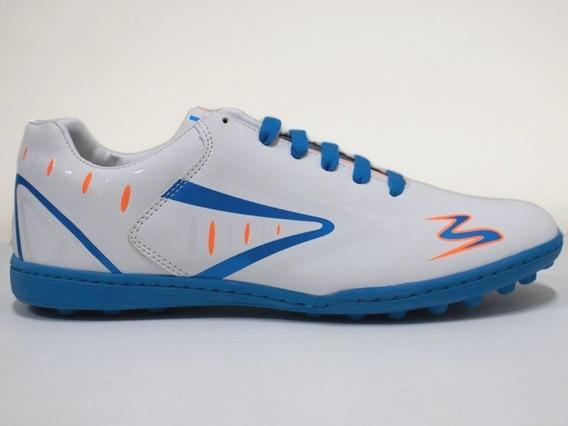 Tenis Futbol Rapido Modelo 432 Blanco / Azul / Naranja